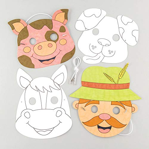 Baker Ross Farm Animal Colour in Mask Kits Pack of 4 Assorted Masks for Kids to Decorate and Wear Party's or Dressing Up