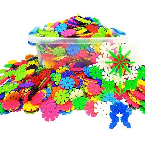 WUSHIYU Wooden Building Blocks Set Children's Plastic Snowflake Construction Toys Disc Educational with Storage Box Classic Build & Play ToyPremium B