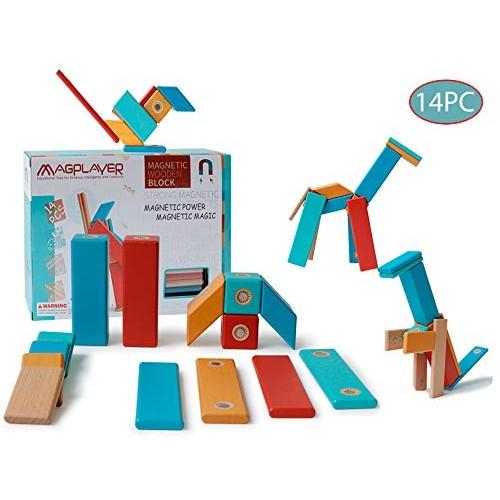 dreambuilderToy Wooden Magnetic Block Set 14 Tiles STEM Building 14 PCS