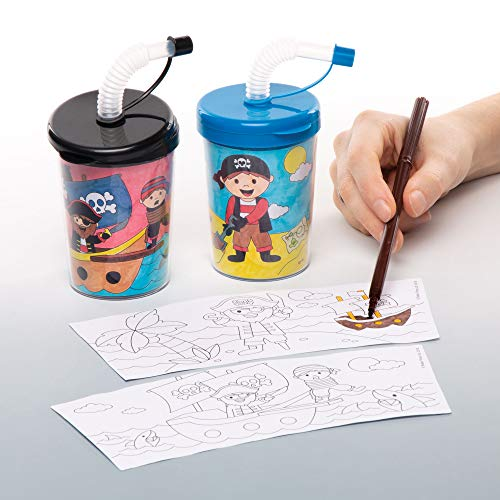 Baker Ross Pirate Color in Sippy Cups Pack of 3 for Kids to Decorate and Use Drinking Perfect Prizes Gifting or a Birthday Party Theme