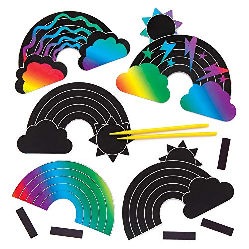 Baker Ross Rainbow Scratch Art Magnets Pack of 10 AW422 Paper with Stylus for Kids to Decorate in Arts and Crafts