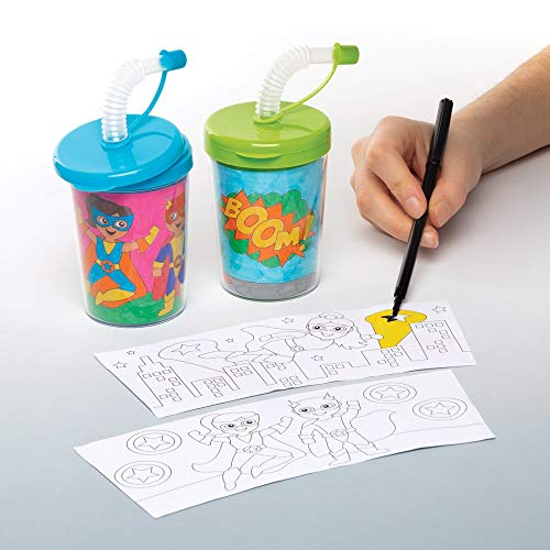 Baker Ross Star Hero Color-in Sippy Cups Pack of 3 for Kids to Decorate and Use Drinking