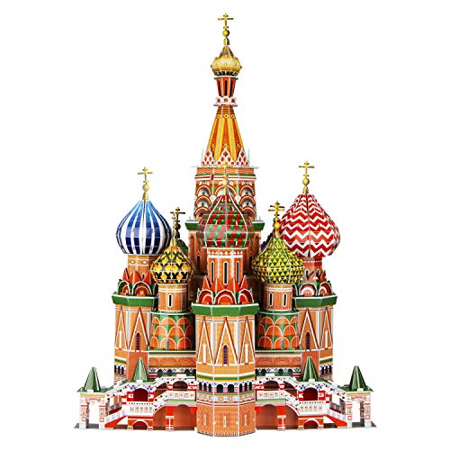 WISESTAR 222 H Large 3D Puzzles Model for Adults and Kids 231PCS Russia St Basil's Cathedral Building Set Handmade Architectural Craft House Kits Educational Toy Birthday Gift Boys Girls