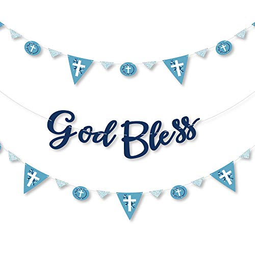 Big Dot of Happiness Blue Elegant Cross – Boy Religious Party Letter Banner Decoration 36 Cutouts and God Bless Letters