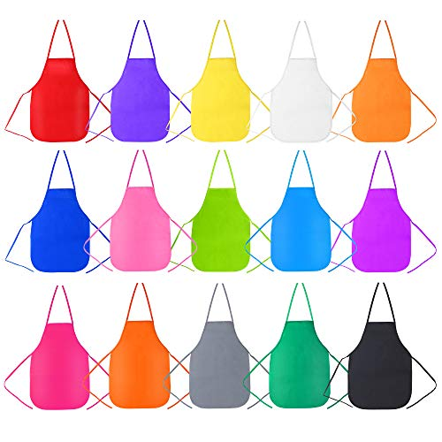 Caydo 15 Pieces Middle Size Kids Painting Apron for Ages 5 to 10 in Kitchen Classroom Community Event Crafts and Art Activity Colors
