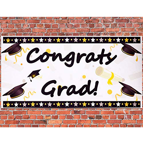 Chinco 2020 Graduation Party Congrats Grad Backdrop Banner Congratulations Caps Bunting Decorations for Happy College Season Supplies 59 x 30 Inch