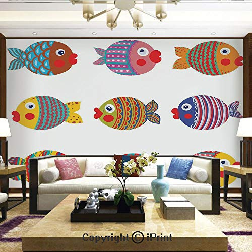 Lionpapa_mural Removable Wall Mural Ideal to Decorate Your Dining RoomPuffers Toadfish Colorful Childish Fish Family with Folk Patterns Children NurseryHome Decor – 100×144 inches
