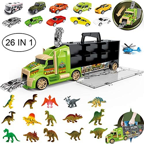 flashbluer Dinosaur Toys Truck with 15 Dinosaurs 5 Metal and 5 Plastic Die-Cast Cars