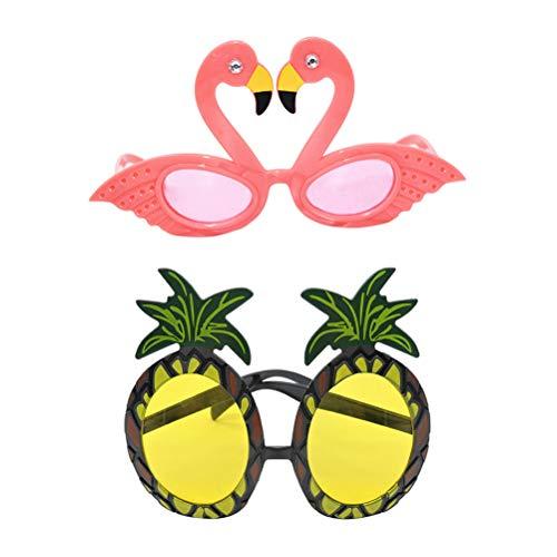 Amosfun 2pcs Hawaiian Tropical Sunglasses Pineapple Flamingo Hawaii Party Fruit Eyeglasses Fancy Dress Props for Luau Beach Pool Decorations