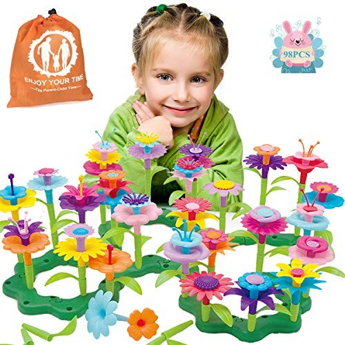 JoysToy Flower Building Toy Set Garden Blocks Playset for 98 PCS with 11 Colors Educational Kids Toys Creative Decoration Year Old Toddler