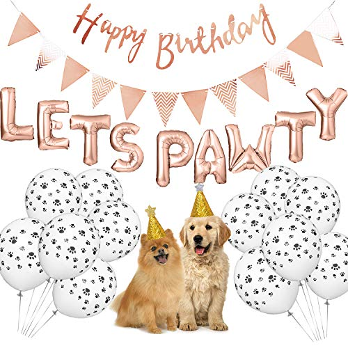 Dog Birthday Party Supplies Lets Pawty Balloons BannerPaw Print Pet Hat Happy Banner Foil Rose Gold