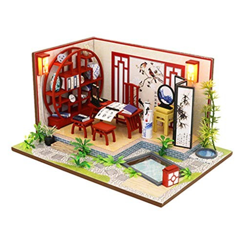 Joykith- DIY House-DIY Mini Cottage Hand-Assembled Creative Model China Style Study Room Dolls House Handcraft Miniature Kit Furniture Building Blocks Gift Toys