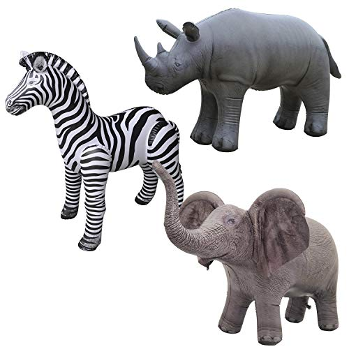 Jet Creations Elephant Rhino Zebra Inflatable Safari 3 Pack Decoration Birthday for Kids & Adults an-ERZ Multicolor