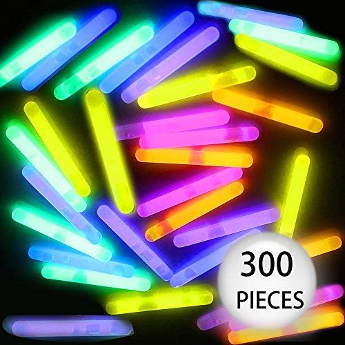 Adoreco 300 Pcs Mini Glow Sticks Bulk with 6 Colors Fishing Float in The Dark Light up Stick Party