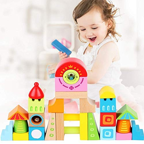 Adadnap Building Blocks for Toddlers – Colorful Baby Toys Wooden Educational Kids Gift 28 Pcs 1 Year Old and Up