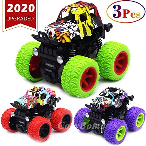CozyBomB Friction Powered Monster Trucks Toys for Boys – Push and Go Car Vehicles
