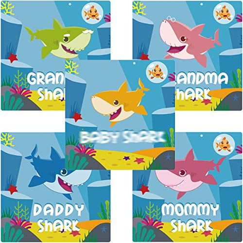 Yizeda Cute Shark Family Stickers Baby Kids Girls Themed Birthday Party Supplies Favors -100 per Pack
