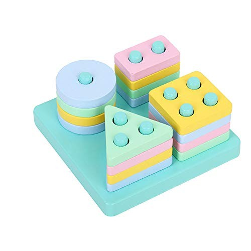 Children's Building Blocks Educational Early Education Toys Wooden Four-Column Shape Paired Column Enlightenment for Kids