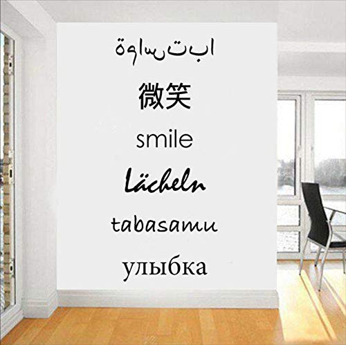 TWJYDP Wall Sticker Wallstickers Russian Foreign Languages Smile Art Decor Decal Quote Living Room Vinyl DIY Office Decorate Kids Finished Size 25x27Cm