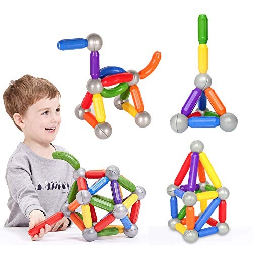 BMAG 38 PCS Magnetic Balls and Rods Set Magnet Building Sticks Blocks Tiles STEM Stacking Toys for KidsJuniorsToddlers