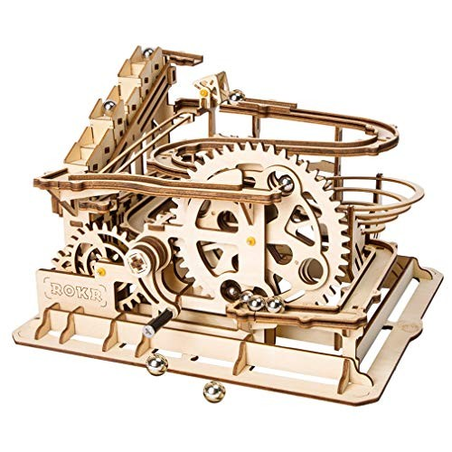 LSQR D004 3D DIY Craft Wooden Puzzle Building Blocks Mechanical Transmission Eco Friendly Toys Roller Coaster for Kids Gift Girls & Boys Birthday and Holiday PresentNatural