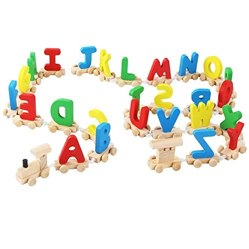 Children's Building Blocks Educational Early Education Toys Wooden Assembled Toy Letters Stitching Small Train Enlightenment for Kids