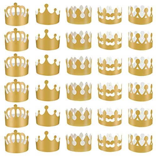 obmwang 30 Pieces Gold Paper Party Crowns Adjustable Foil Hat for Baby Shower Photo Props Birthday Celebration 5 Styles
