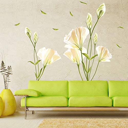DianDianwl Removable DIY Decorate Kids Room Cartoon Blooming Lily Wall Sticker for Tv Sofa Background Wallpaper Home Decal