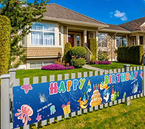 Colormoon Large Cute Shark Birthday Banner Babt for Kids Party Supplies Decorations Baby Shower 98 x 16 feet