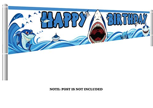 Colormoon Large Shark Birthday Party Banner Decorations Blue Ocean Supplies Baby Shower 98 x 16 feet