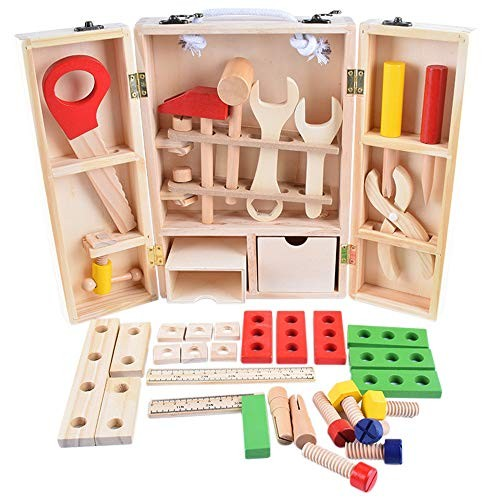 Children's Building Blocks Childrens DIY Carpenters Toy & Learning Playset Multicoloured Wooden Tools and Carry Case Enlightenment Educational Toys