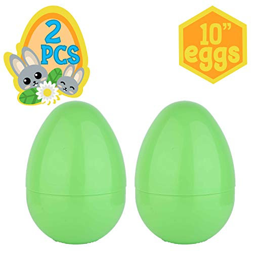 Playoly 2 Jumbo 10-Inch Green Easter Eggs – The Perfect Size For Holding Toys Candy Bars And Stuffed Animals Easy To Open Tough Break Great As Party Favors Basket Stuffers