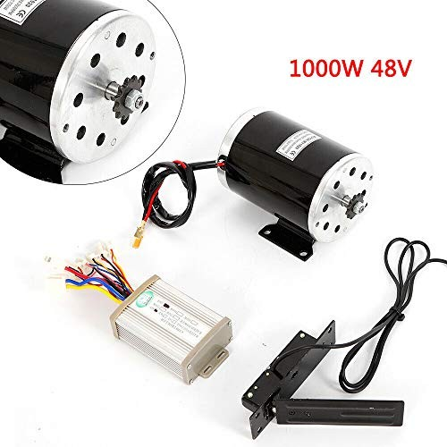 YIWON Black 1000W 48V DC Electric Motor w/Base Speed Controller Foot Pedal Throttle Scooter
