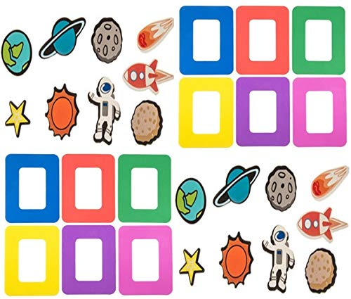 HAPPY DEALS ~ 12 Space Galaxy Magnet Picture Frame Craft Kits – 12 Frames and 72 Theme Foam Shapes to Decorate Frames- Class Pack