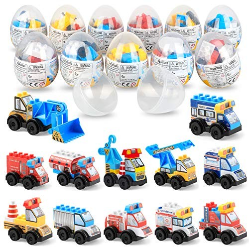 SmilePowo 12 Pack Different Pull Back Vehicles Cars for KidsConstruction Toys SetsEngineering Car Building