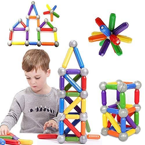 BMAG 46 PCS Magnetic Balls and Rods Set Magnet Building Sticks Blocks Tiles STEM Stacking Toys for KidsJuniorsToddlers