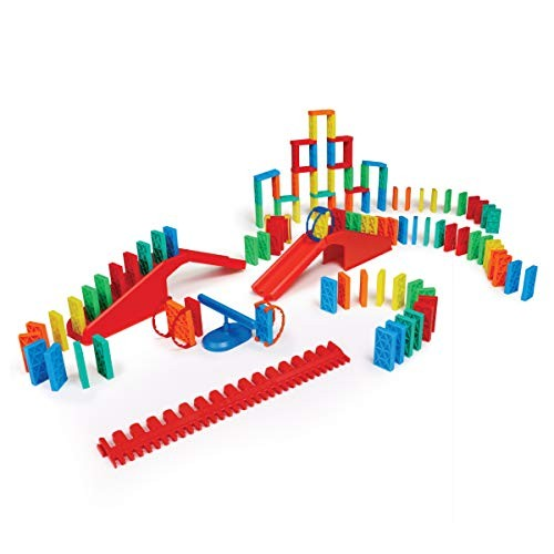 Bulk Dominoes Kinetic Toppling Kit 118pcs Building and Stacking Chain Reaction STEAM Toy Blocks for Kids
