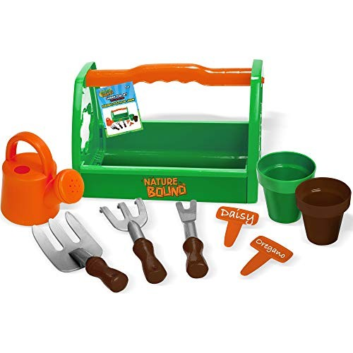 Nature Bound Toys Kids Garden Tool Set with Planters Water Bucket Rakes Caddy 9Piece