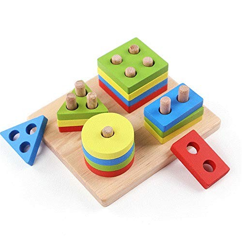 Children's Building Blocks Educational Early Education Wooden Four-Column Shape Matching Toys Enlightenment