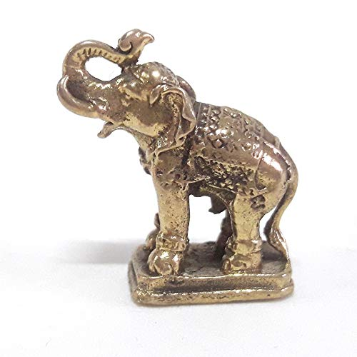 poppip Miniature Dollhouse Brass Animal Elephant Figure Collectible Gift Mini Garden Decorate 25 cm