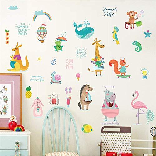 ufengke Summer Animal Wall Stickers Giraffe Kangaroo Decals Art Decor for Kids Bedroom Nursery DIY