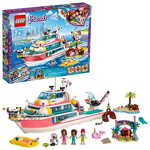 LEGO Friends Rescue Mission Boat 41381 Toy Building Kit with Mini Dolls and Sea Creatures Playset includes Narwhal Figure Treasure Box more for Creative Play 908 Pieces