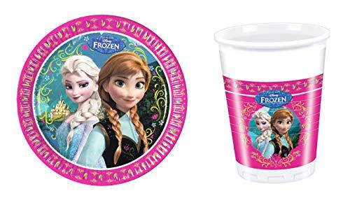 Disney Frozen 4 Piece Party Set Elsa & Anna – 200 ml Plastic Cups 23 cm Plates