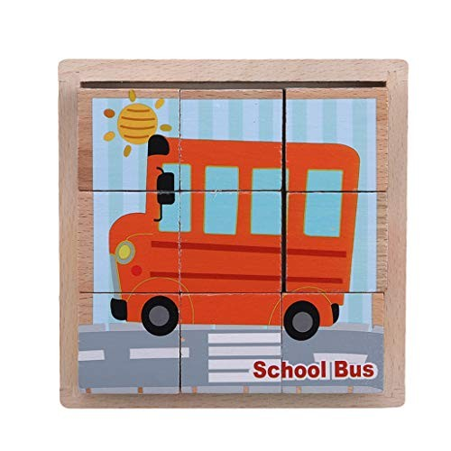 HAOWANG Wooden Cartoon Six-Sided Painted Puzzles Toys Building Block 3D Gift for Kids Transportation Pattern