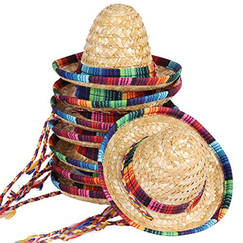 BTYMS 8 Packs Mini Sombrero Party Hats Mexican Hat Decorations Supplies Costume for Kids Dolls Pets 59 Inch