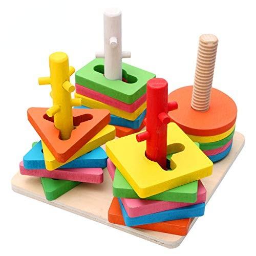 YYHSND Four-Column Shape Building Puzzle Toy Wood Ball Set Blocks Smart Toy