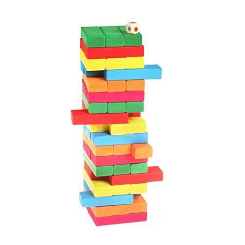 Zxq Wooden Puzzle Color 51 Large Stack High Children Creative Building Blocks Adult Desktop Toys