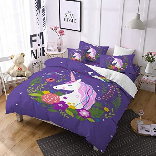 Jessy Home Duvet Cover 3 Piece Queen Size Rainbow Unicorn Cute Quilt for Girls Children Gift Cartoon 3D Bedding Set Purple 2Pillow Cases