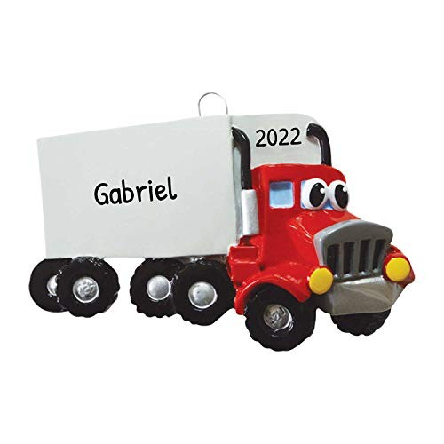 Personalized Semi Truck Toy Christmas Tree Ornament 2020 – Red Mighty Machine Trailer Freight