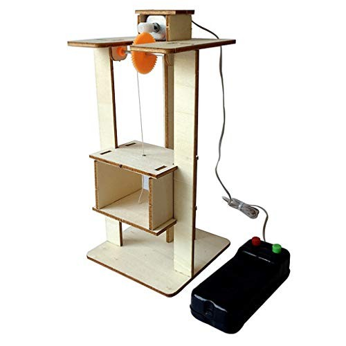 DIY Elevator ToyRemote Control Physical Equipment Crane Lifts ModelEducation Technology Small Production STEM Assembling Science Experiment Kit Khaki
